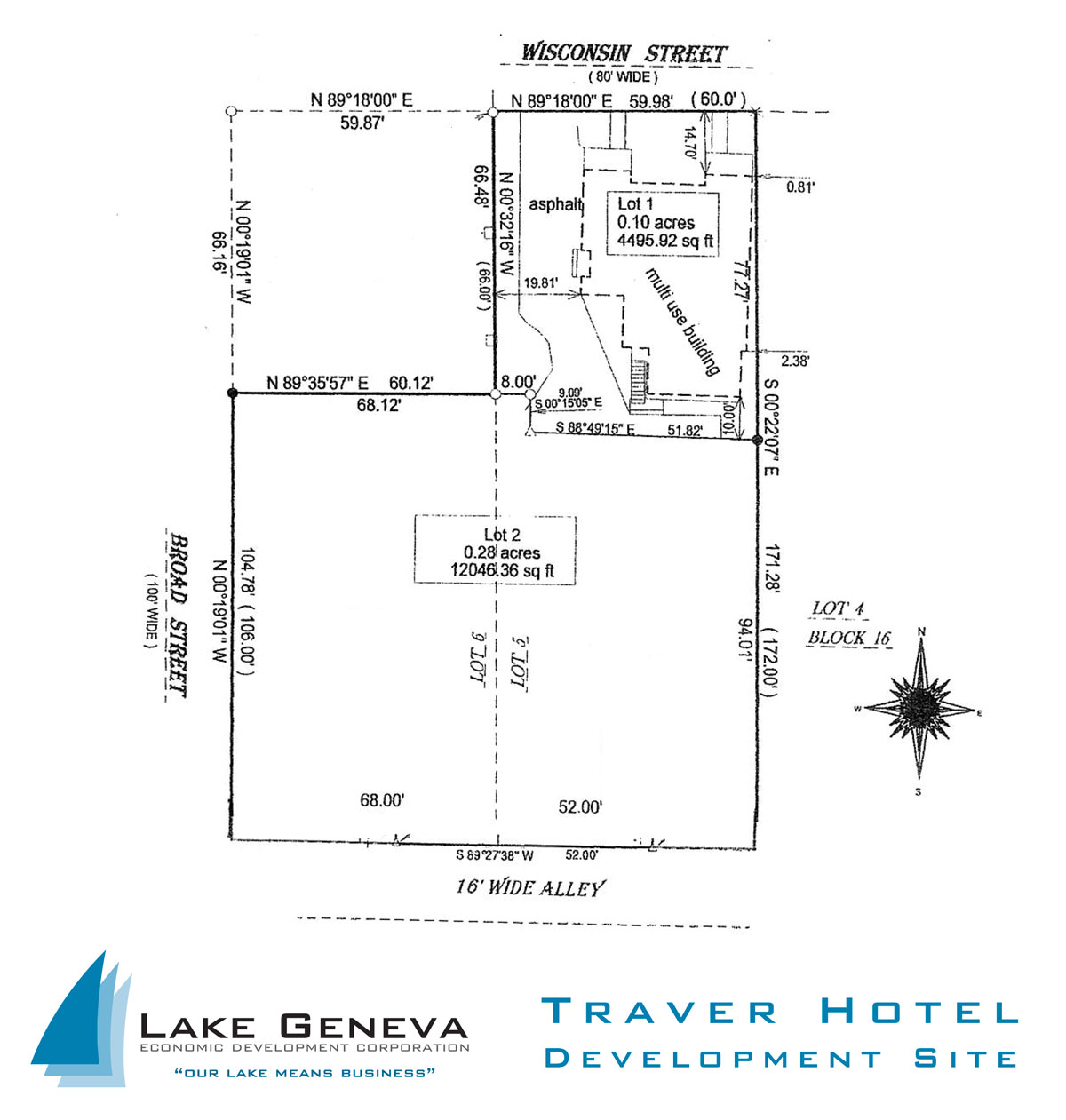 Survey map of Downtown Lake Geneva Traver Hotel site currently available for development